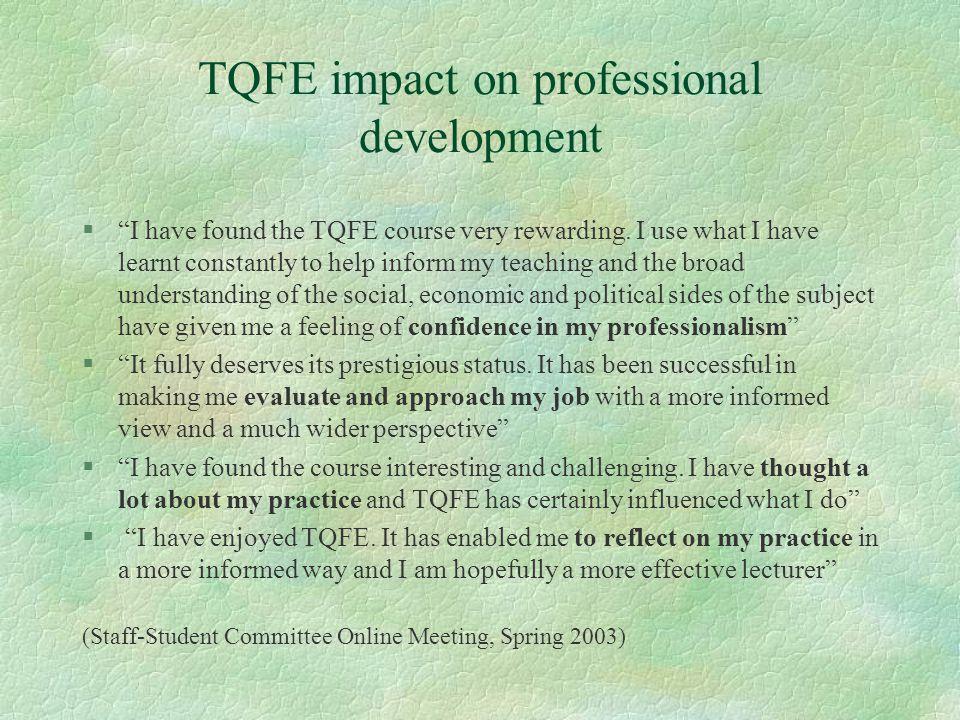 TQFE impact on professional development