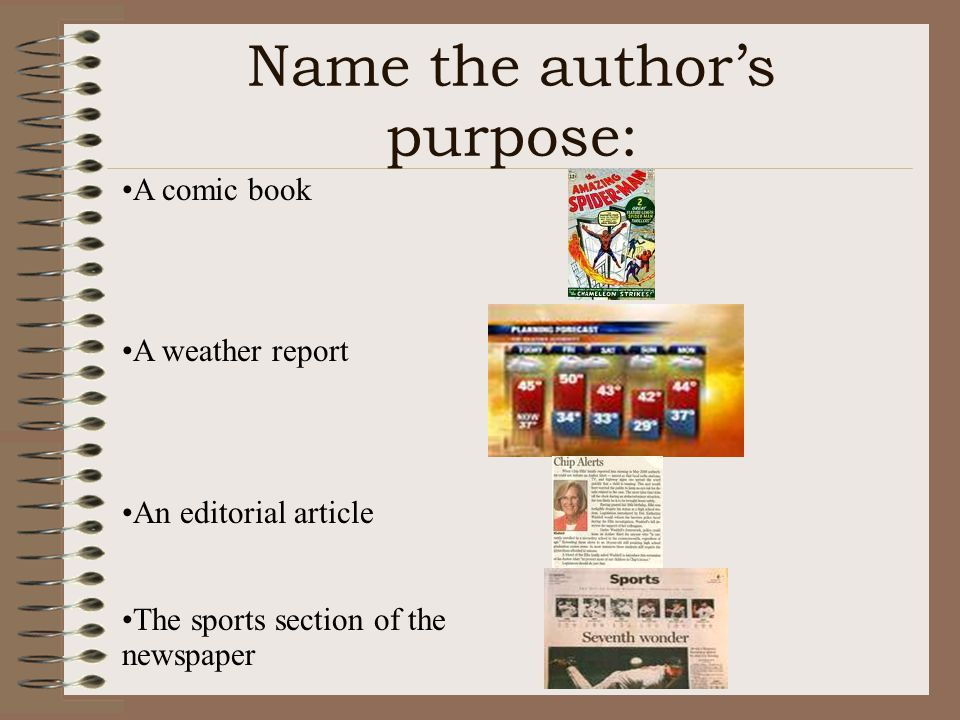 Name the author's purpose: