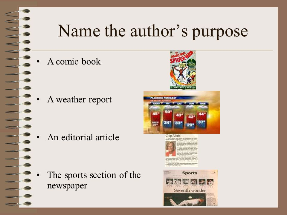 Name the author's purpose