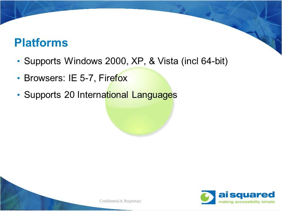 Platforms Supports Windows 2000, XP, & Vista (incl 64-bit)