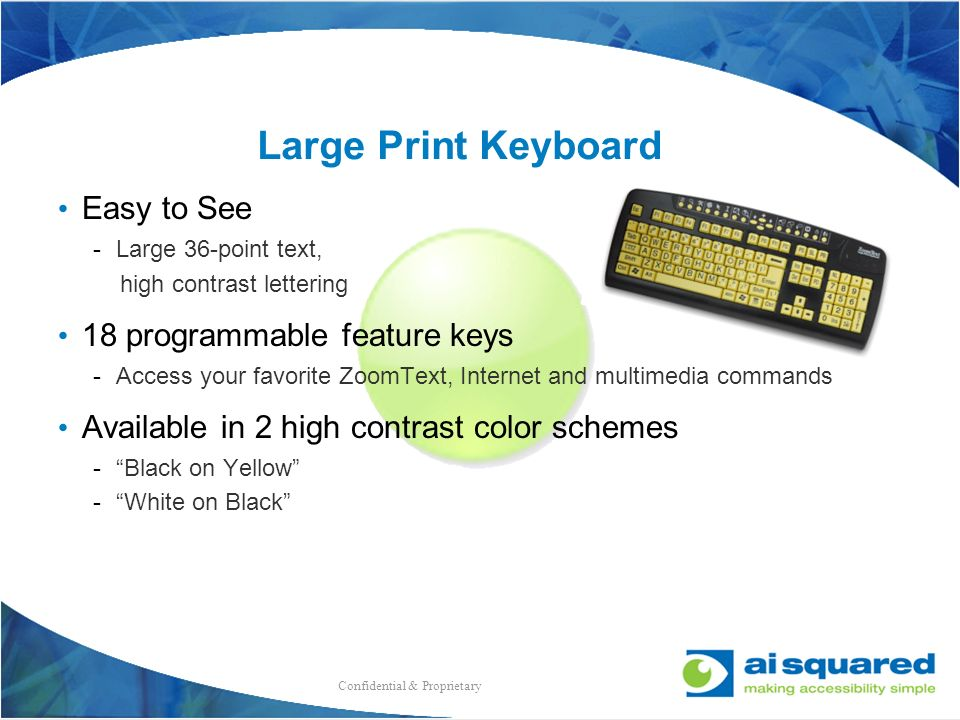 Large Print Keyboard Easy to See 18 programmable feature keys