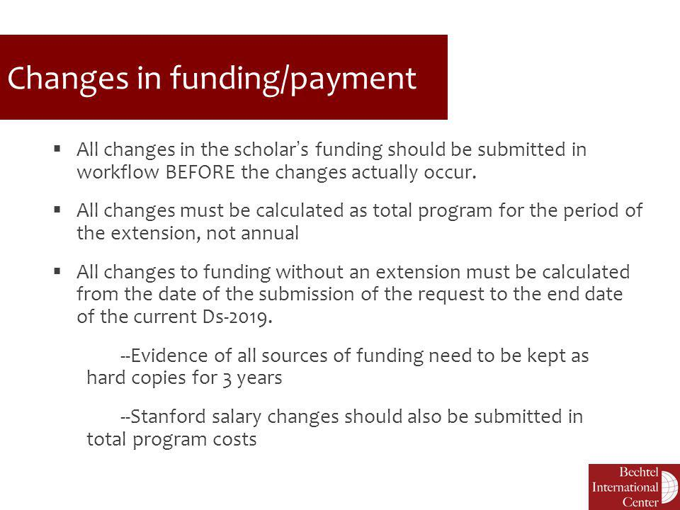 Changes in funding/payment
