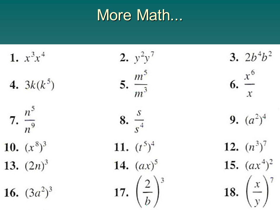 More Math...