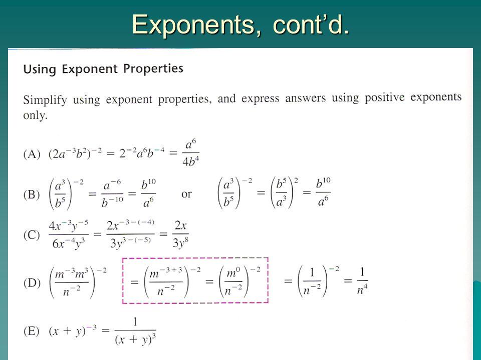 Exponents, cont'd.