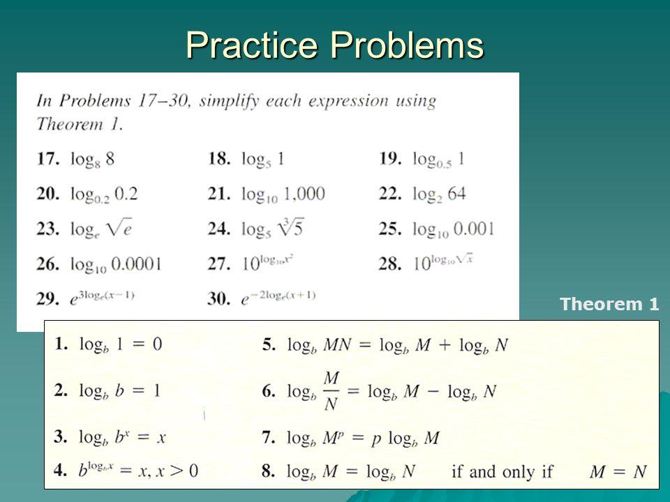 Practice Problems Theorem 1