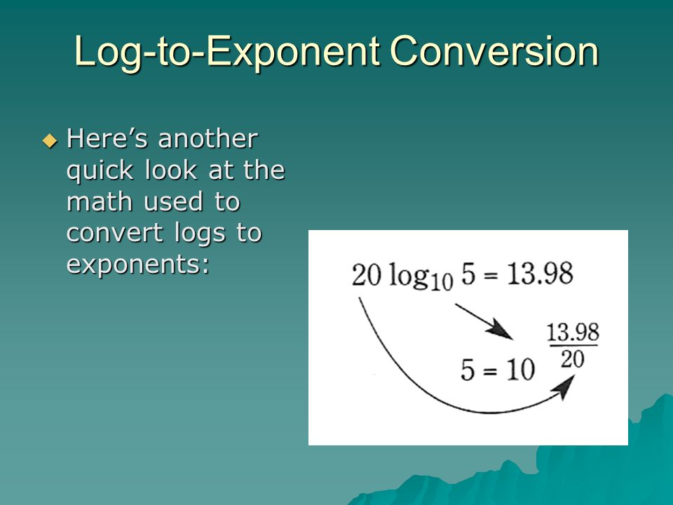 Log-to-Exponent Conversion