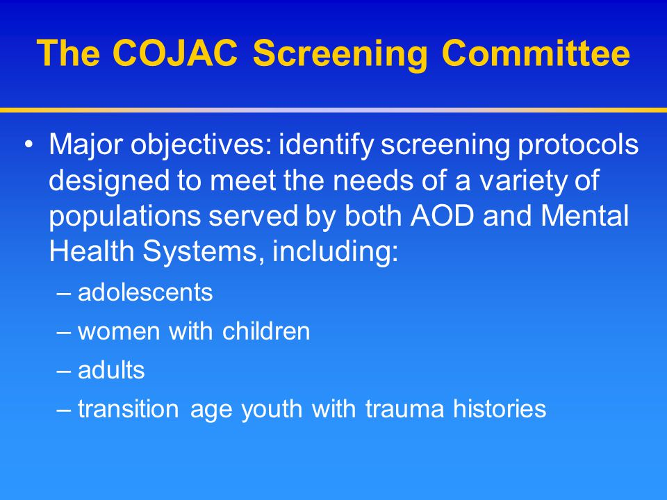 The COJAC Screening Committee