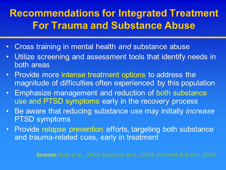 Recommendations for Integrated Treatment For Trauma and Substance Abuse