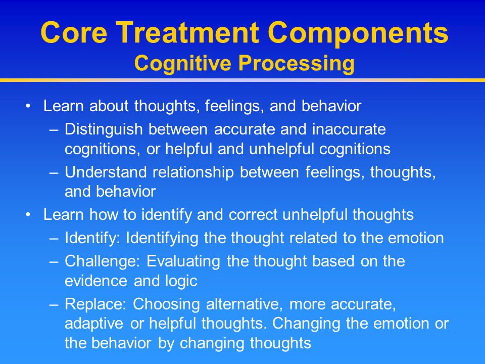 Core Treatment Components Cognitive Processing