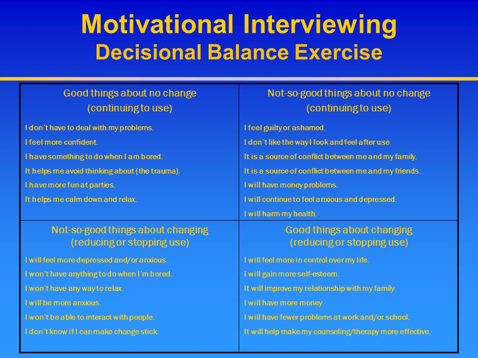 Motivational Interviewing Decisional Balance Exercise