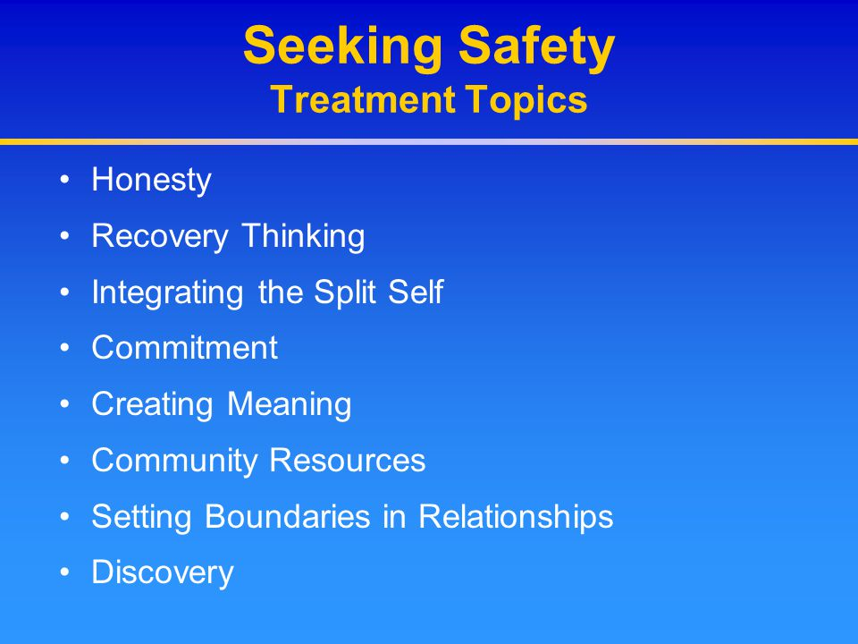 Seeking Safety Treatment Topics