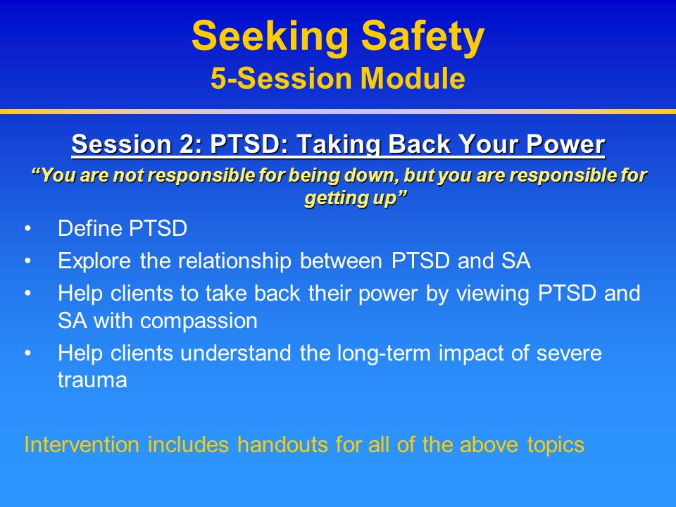 Seeking Safety 5-Session Module