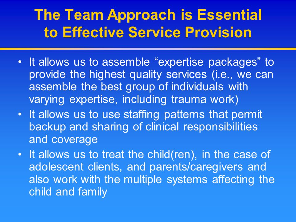 The Team Approach is Essential to Effective Service Provision