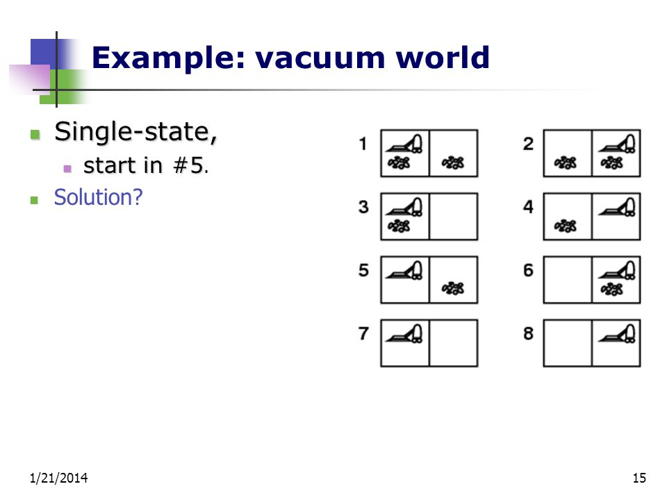 Example: vacuum world Single-state, start in #5. Solution 3/25/2017