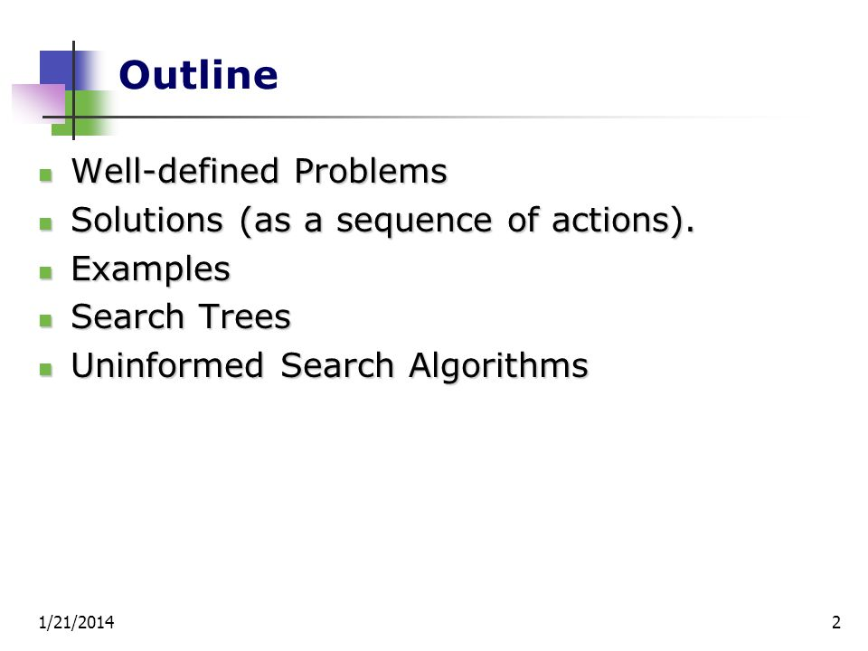 Outline Well-defined Problems Solutions (as a sequence of actions).