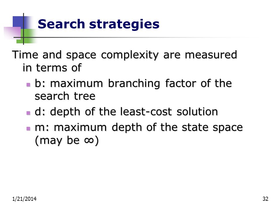 Search strategies Time and space complexity are measured in terms of