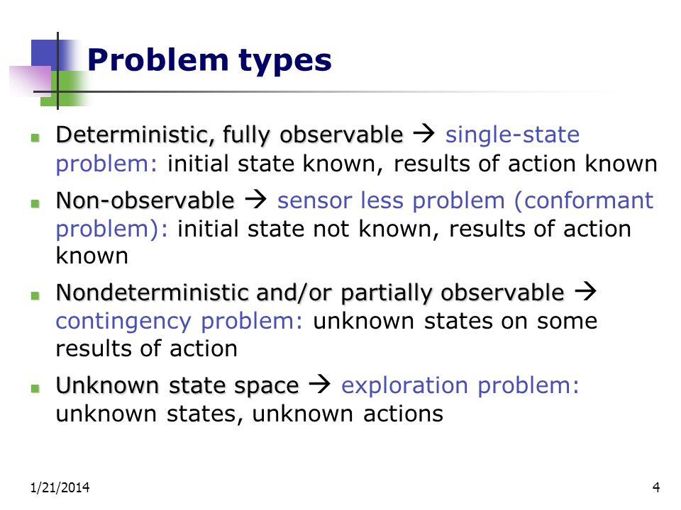 Problem types Deterministic, fully observable  single-state problem: initial state known, results of action known.