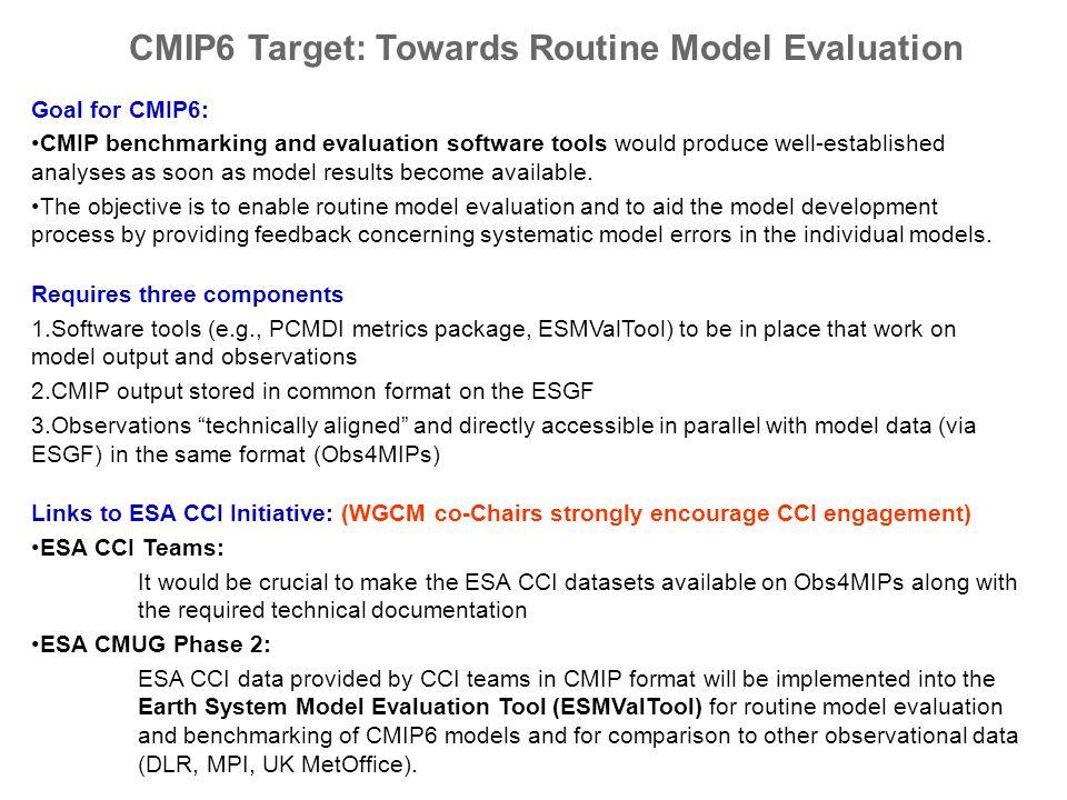 CMIP6 Target: Towards Routine Model Evaluation