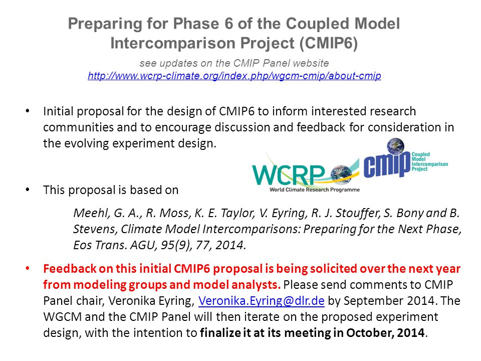 see updates on the CMIP Panel website