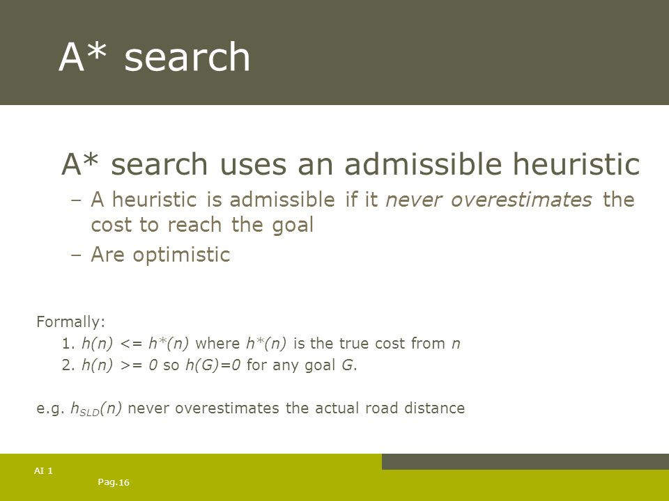 A* search A* search uses an admissible heuristic