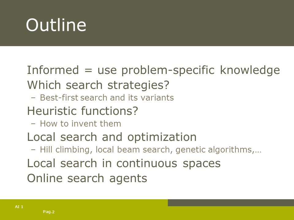 Outline Informed = use problem-specific knowledge