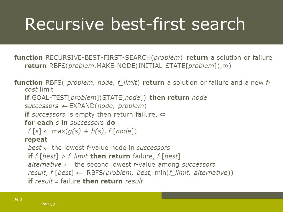 Recursive best-first search