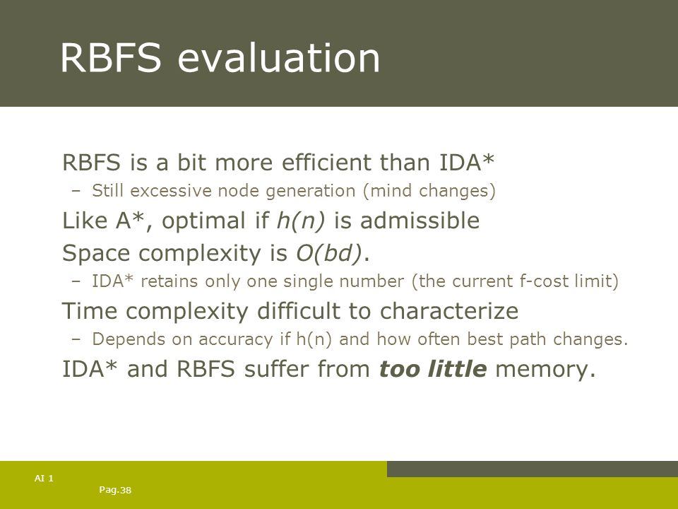 RBFS evaluation RBFS is a bit more efficient than IDA*