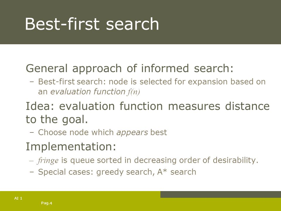 Best-first search General approach of informed search: