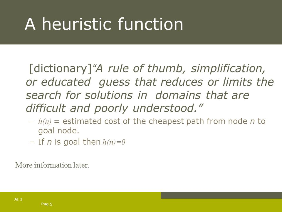 A heuristic function