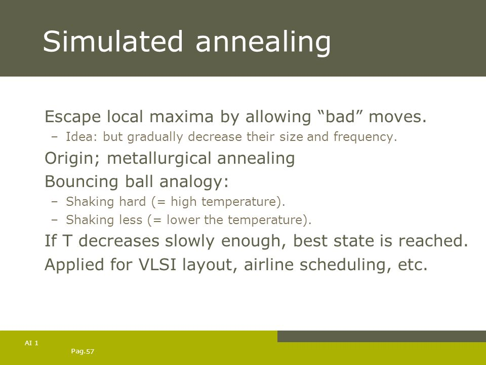 Simulated annealing Escape local maxima by allowing bad moves.
