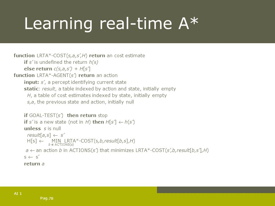 Learning real-time A* function LRTA*-COST(s,a,s',H) return an cost estimate. if s' is undefined the return h(s)