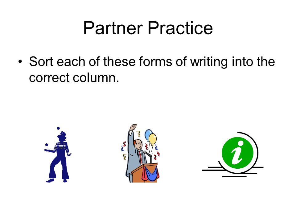 Partner Practice Sort each of these forms of writing into the correct column.