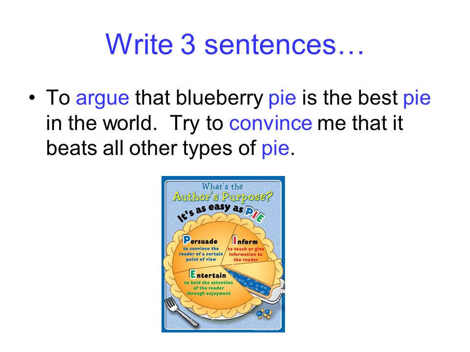 Write 3 sentences… To argue that blueberry pie is the best pie in the world.