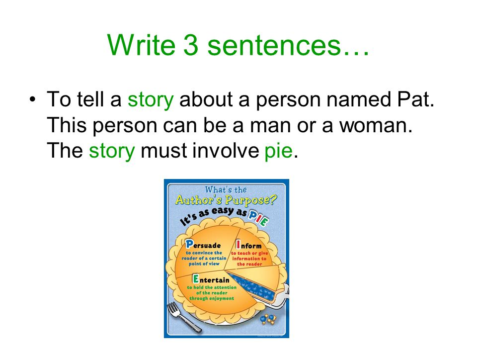 Write 3 sentences… To tell a story about a person named Pat.