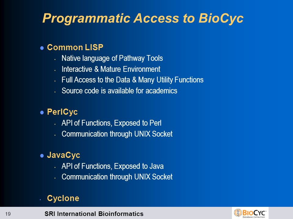 Programmatic Access to BioCyc
