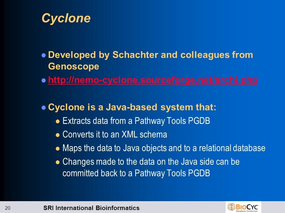 Cyclone Developed by Schachter and colleagues from Genoscope