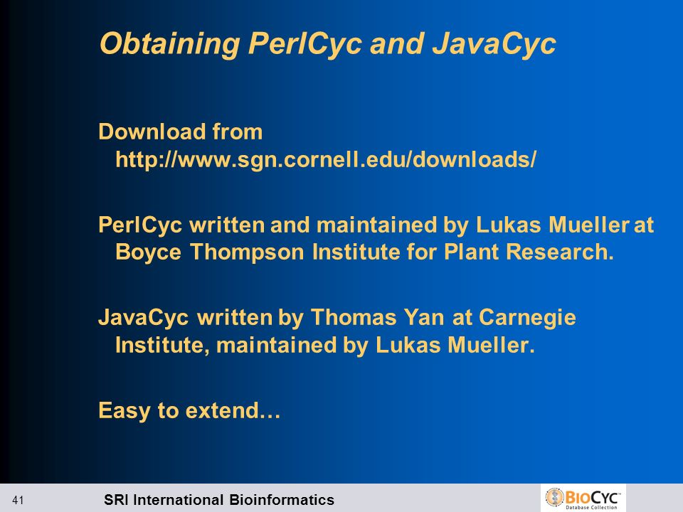 Obtaining PerlCyc and JavaCyc