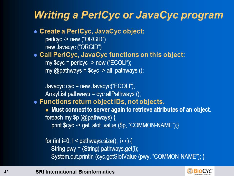 Writing a PerlCyc or JavaCyc program