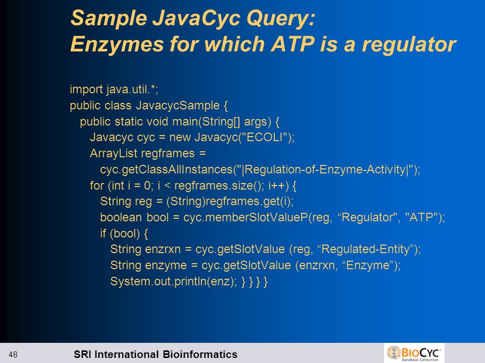 Sample JavaCyc Query: Enzymes for which ATP is a regulator
