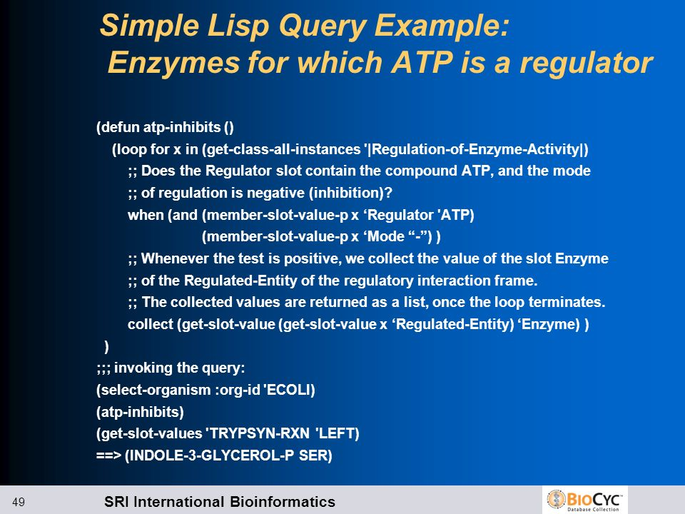 Simple Lisp Query Example: Enzymes for which ATP is a regulator