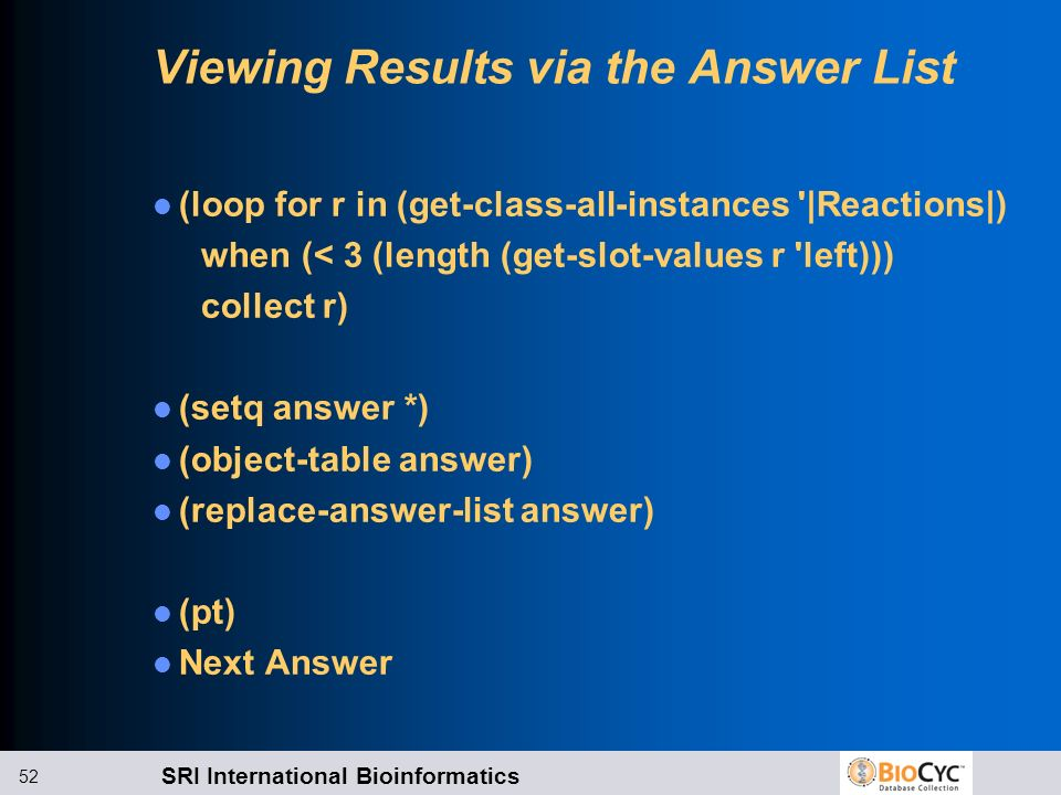 Viewing Results via the Answer List