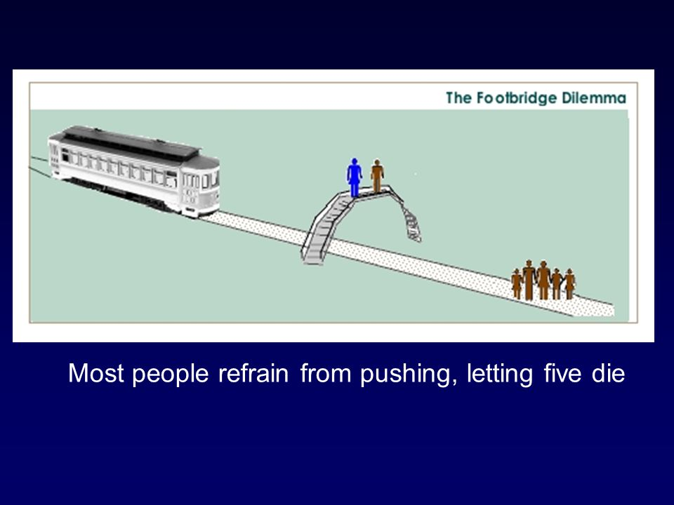 Most people refrain from pushing, letting five die