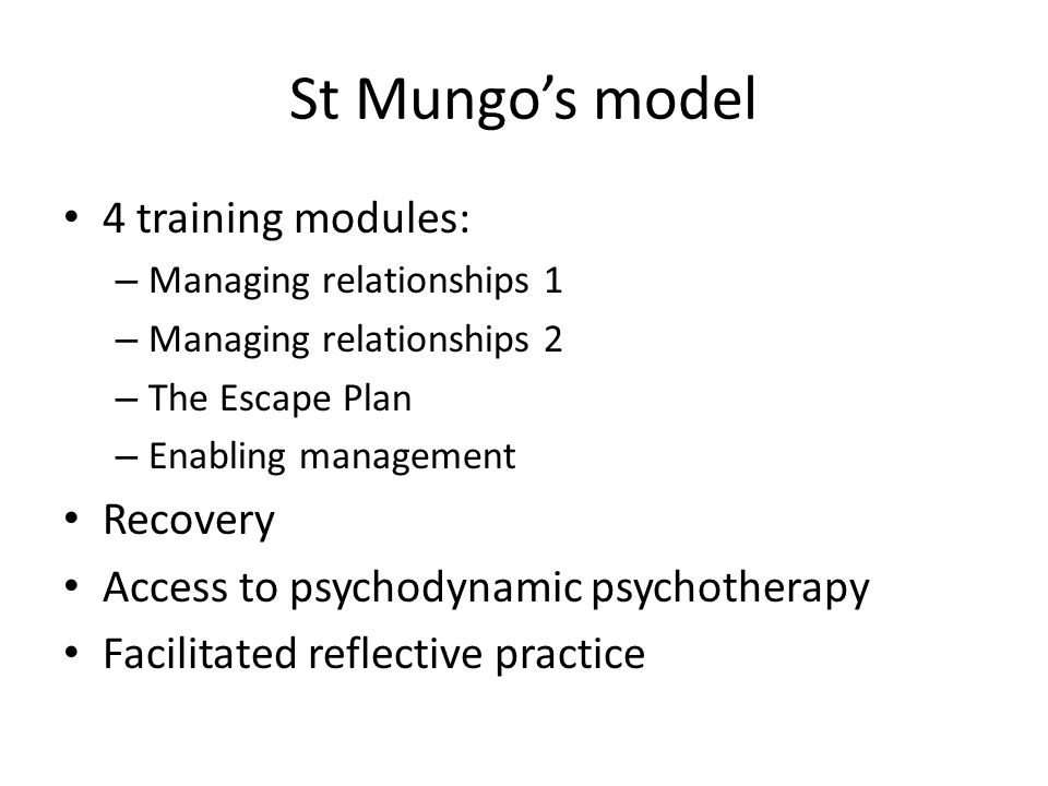 St Mungo's model 4 training modules: Recovery