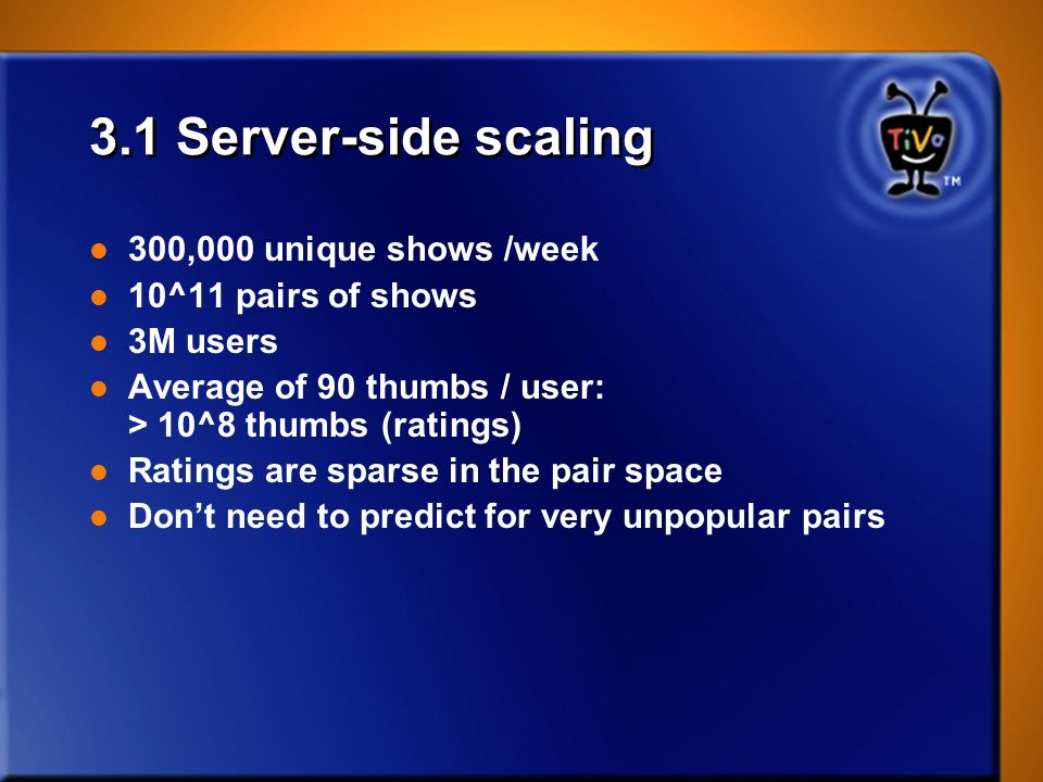 3.1 Server-side scaling 300,000 unique shows /week