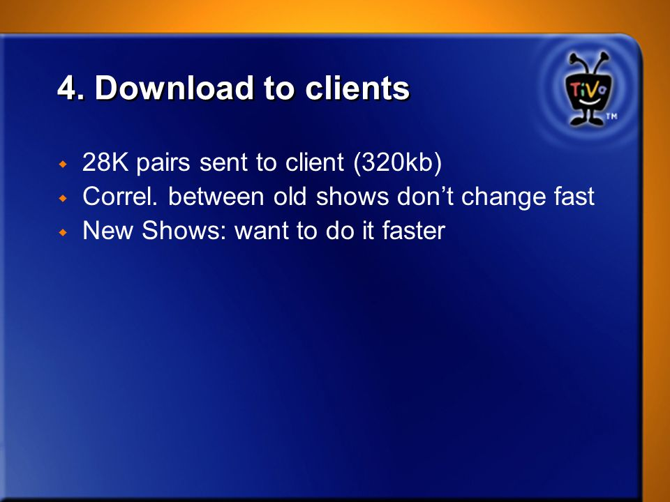 4. Download to clients 28K pairs sent to client (320kb)