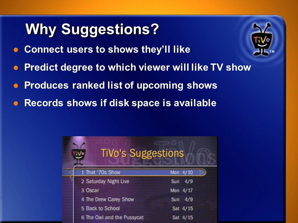 Why Suggestions Connect users to shows they'll like