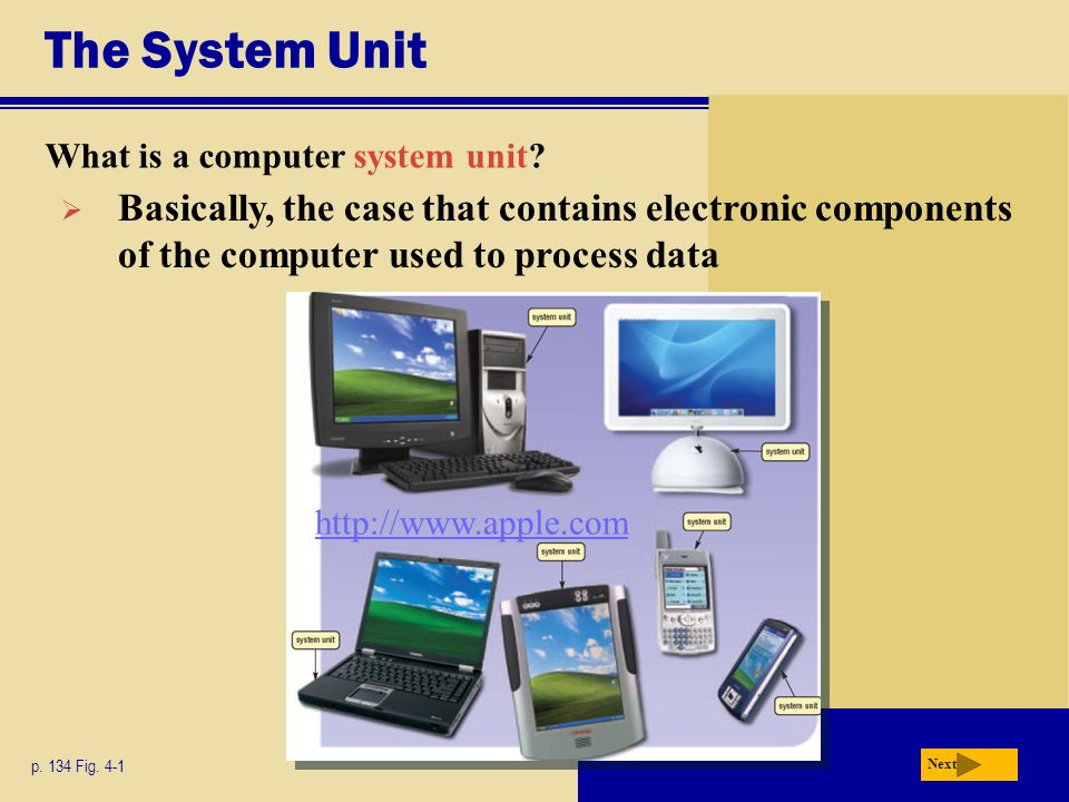 The System Unit What is a computer system unit Basically, the case that contains electronic components of the computer used to process data.