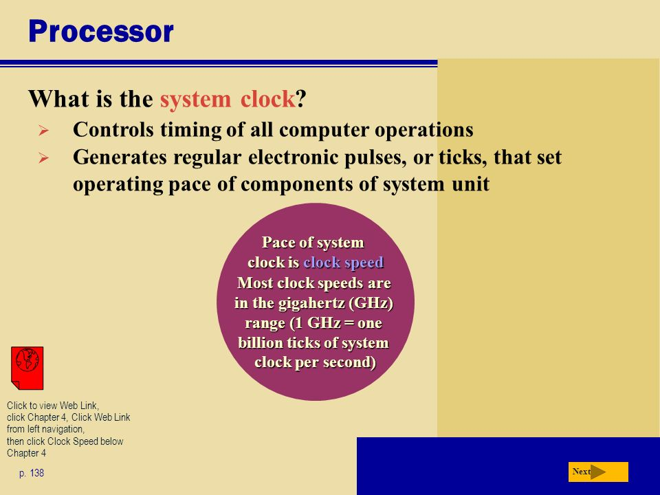 Pace of system clock is clock speed