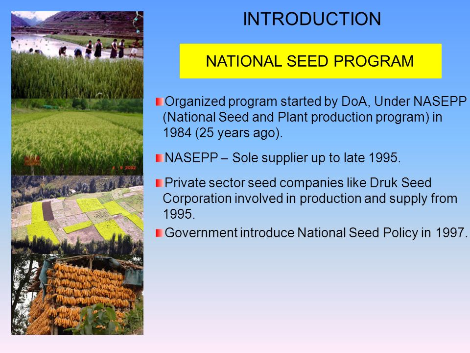 INTRODUCTION NATIONAL SEED PROGRAM