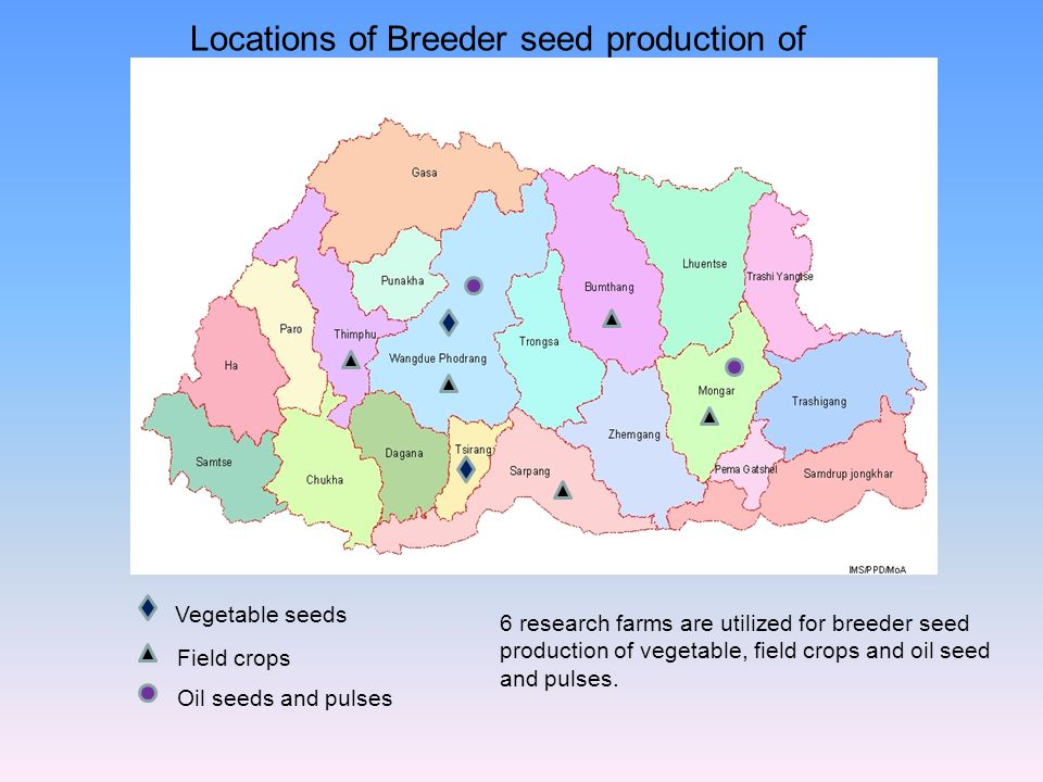 Locations of Breeder seed production of RNR Centers
